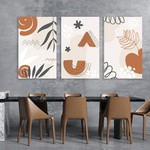 Kit Quadros Decorativos Ramos Abstratos