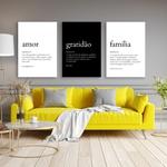 Kit 3 Placas Decorativas Amor Gratidão Família