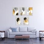 Kit 5 Placas Decorativas Folhas Douradas