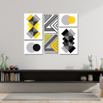Kit Quadros Decorativos Abstratos Geométricos