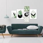 Kit Quadros Decorativos Folhas Abstratos