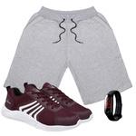 Kit Bermuda Masculina Moletom Cinza + Tênis Masculino Running Vermelho + Relógio Digital - Lorenzzo Lopez
