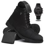Bota Coturno Masculino Casual Conforto Cano Médio + Relógio + Cinto + Carteira - Preto
