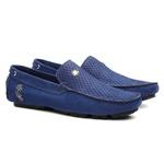 Kit Mocassim Masculino Liso Cobra Lorenzzo Lopez Azul Cinto e Calçado