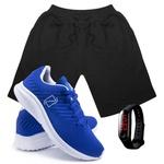 Kit Bermuda Moletom Masculina + Tenis Masculino Conforto + Relógio Digital [Preto/Azul]