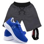 Kit Bermuda Moletom Masculina + Tenis Masculino Conforto + Relógio Digital [Grafite/Azul]