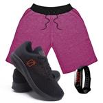 Kit Bermuda Moletom Masculina + Tenis Masculino Conforto + Relógio Digital [Rosa/PretoLaranja]