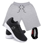 Kit Bermuda Moletom Masculina + Tenis Masculino Conforto + Relógio Digital [Cinza/PretoBranco]