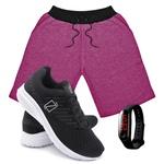 Kit Bermuda Moletom Masculina + Tenis Masculino Conforto + Relógio Digital [Rosa/PretoBranco]