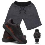 Kit Bermuda Masculina Moletom + Tenis Masculino SPEED Conforto + Relógio - Lorenzzo Lopez