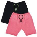 KIT 2 Bermudas Moletom Masculina Corrida Color Conforto - Preto/Rosa