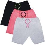KIT 3 Bermudas Moletom Masculina Corrida Color Conforto - Preto/Cinza/Rosa