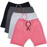 KIT 4 Bermudas Moletom Masculina Corrida Color Conforto - Preto/Cinza/Grafite/Rosa