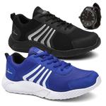 Kit 2 Pares Tênis Masculino Running Caminhada/Academia Preto/Azul + Relógio- Lorenzzo Lopez