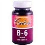 Vitamina B-6 (Piridoxina) - Labs Carlson - 50 mg - 250 tabletes