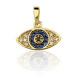 Pingente de Olho Grego em Ouro 18k com Brilhantes e Safiras