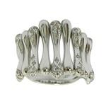 Anel em ouro branco 18k Feminino Largo com Brilhantes