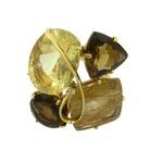 Anel em Ouro 18k Grande com Topázio Imperial Quartzo Fumê e Brilhante