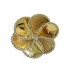 Anel em Ouro 18k Flor Grande com Brilhantes
