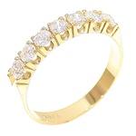 Meia Aliança Ouro 18K 750 com Diamantes