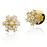 Brincos modelo Chuveiro de Ouro 18K com Diamantes