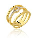 Anel de Coração em Ouro 18K com Diamantes
