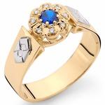 Anel de Formatura em Ouro 18K com Brilhantes e Pedra Natural