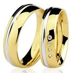 Aliança de casamento Anatômica Ouro Branco e Amarelo