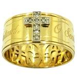 Anel O Senhor é o Meu Pastor em ouro 18k com Brilhantes