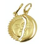 Pingente Sol e Lua Cara Metade em Ouro