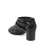 Sandália Open Boot Tiras Couro Preta