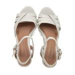 Sandália Plataforma Tiras Couro Off White