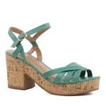 Sandália Plataforma Tiras Couro Verde