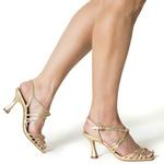 Sandália Alta Metalizada Cristal Ouro