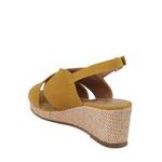 Sandália Plataforma Xis Couro Nobuck Caramelo