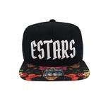 Boné E-STARS Snapback Preto Aba Reta Sublimada