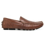 Mocassim Drive Masculino Couro Textura Damas Whisky Riccally