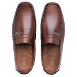 Mocassim Drive Masculino Couro Whisky Metal Riccally