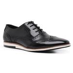 Sapato Casual Brogue Masculino Couro Preto Riccally