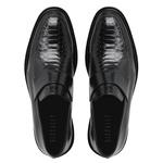 Sapato Social Masculino Loafer Couro Croco Preto Riccally