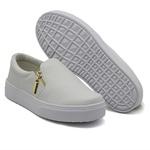 Slip On Calce Fácil Zíper Branco DKShoes