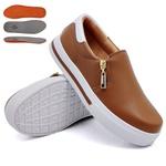 Slip On Zíper Caramelo Verniz Branco DKShoes