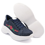 Tênis Casual Chuncky Flor Jeans Sola Tratorada DKShoes