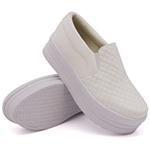 Slip On Matelassê Sola Alta Branco DKShoes
