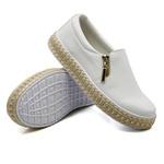 Slip On Calce Fácil Corda Zíper Branco DKShoes