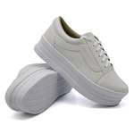 Tênis Casual Listra Sola Alta Branco DKShoes