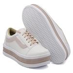 Tênis Casual Listra Sola Alta Branco com Rosê DKShoes