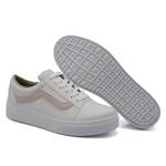 Tênis Casual Listra Branco com Rosê DKShoes