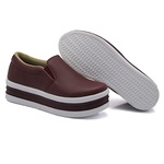 Slip On Liso Sola Alta Marsala DKShoes