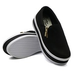 Slip On Zíper Sola Alta Preto DKShoes